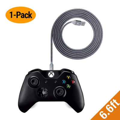 EXINOZ 13ft Braided Charger Cable for Xbox One Controller | Ideal Length Xbox and PS4 Controller Charging Cable | 1 Year Replacement Warranty - Exinoz