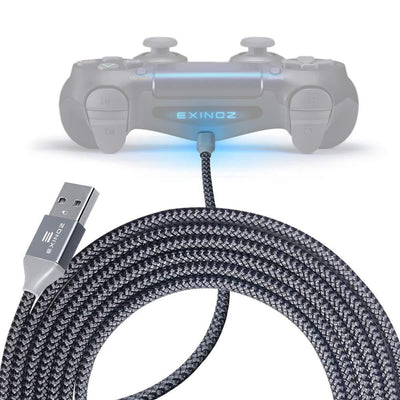 EXINOZ 13ft Braided Charger Cable for PS4 DualShock and Xbox One Controller | Ideal Length Xbox and PS4 Controller Charging Cable | 1 Year Replacement Warranty - Exinoz