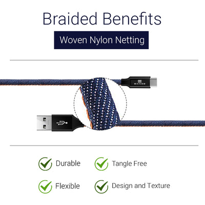 Exinoz USB Type C Cable Fast Charging USB C Denim Cable (Bonus Special Offer)