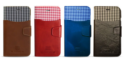 FULL COLOR SET: iPhone 6 Plus / 6s Plus 100% Genuine Leather Wallet Case [RED, BROWN, BLACK, BLUE]