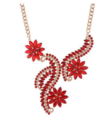 Rhinestone Flowers Statement Necklace for Women