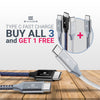 Exinoz USB Type C Cable Fast Charging USB C Cable (3 Pack Bundle + 1 Bonus)