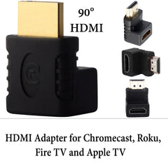 EXINOZ 90 Degree HDMI Adapter for Chromecast, Roku, Fire TV or Apple TV