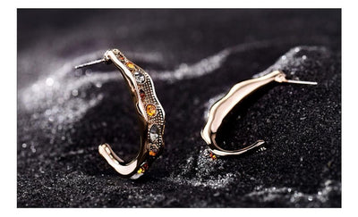Coffee Gold Color Semicircle Stud Earrings for Women