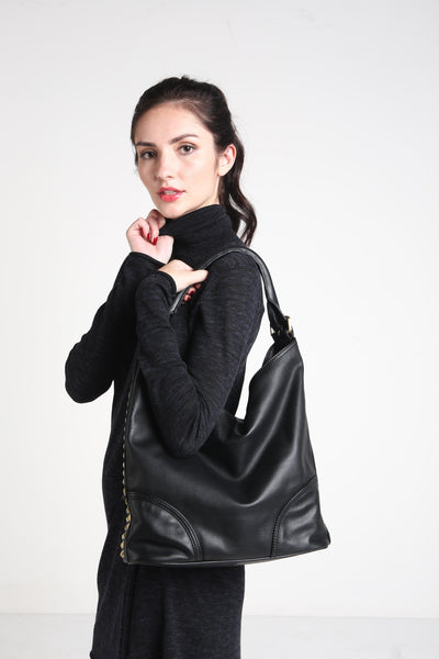 EMPRESS Studded Slouchy Hobo Shoulder Bag - Exinoz