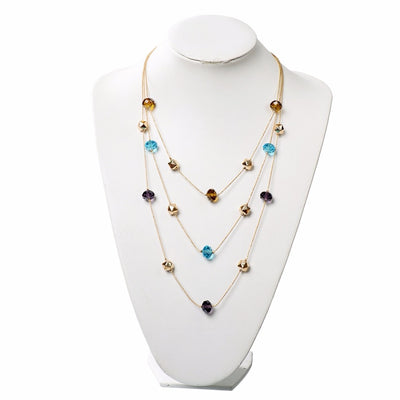 Long Chain Beaded Multilayer Necklace