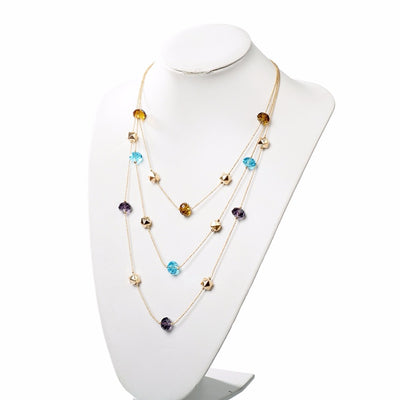 Long Chain Beaded Multilayer Necklace - Exinoz