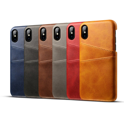 Luxury PU Leather Card Holder Slots Phone Case For iPhone X XR XS