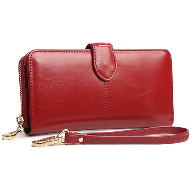 Oil Wax Leather Long Wallet for Women