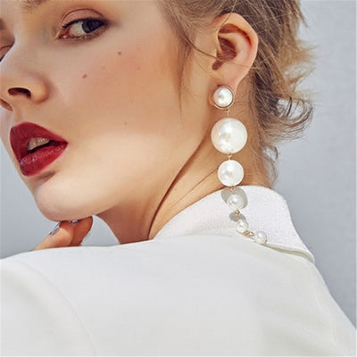Simulated Pearl Dangle Earrings - Exinoz