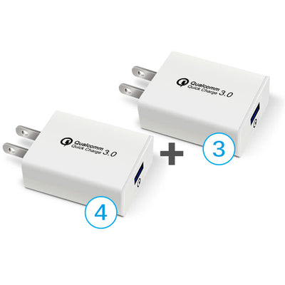 USB Fast Quick Wall Charger (18W: 5V, 9V, 12V / 4A) for Android phones or iPhone