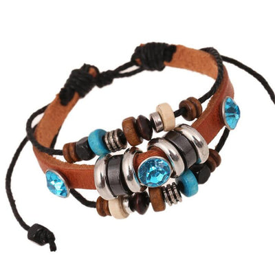 Genuine Leather Multi-layer Beaded Charm Bracelets