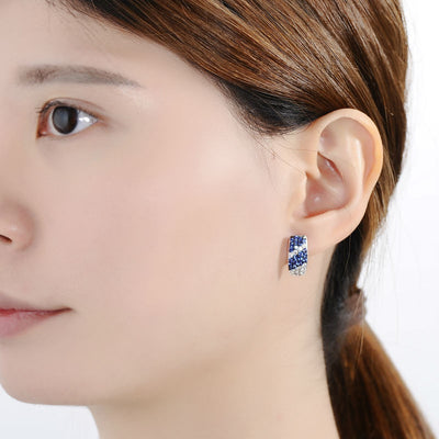 Silver with Cubic Zirconia Stones Earrings
