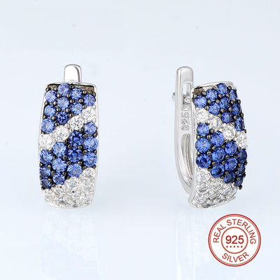 Silver with Cubic Zirconia Stones Earrings - Exinoz