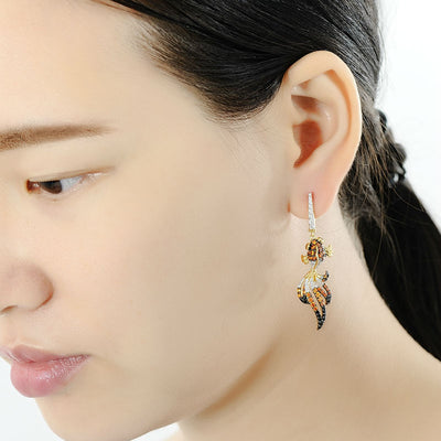 Silver Fish Dangle Earrings - Exinoz