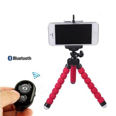 Exinoz Flexible Sponge Mini Tripod With Bluetooth Remote Shutter - Exinoz