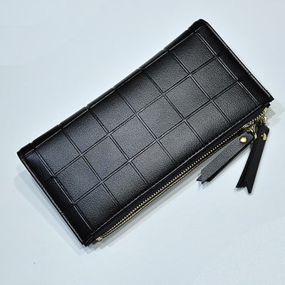 Women Leather Purse Plaid Wallets Long Ladies Colorful Wallet