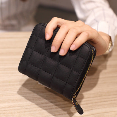Short Wallets PU Leather Female Plaid Purses Nubuck Card Holder - Exinoz