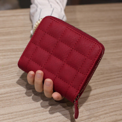 Short Wallets PU Leather Female Plaid Purses Nubuck Card Holder