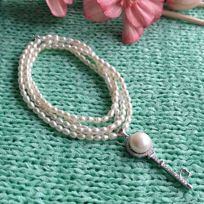 Long Multilayer Freshwater Pearl Necklace