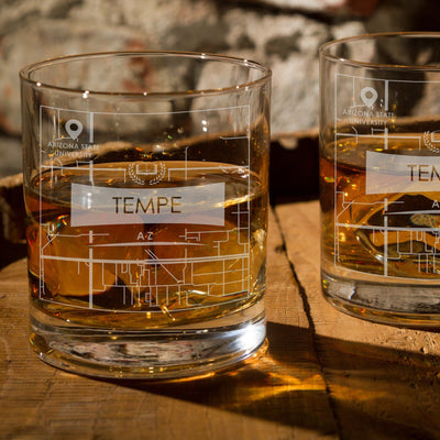 ARIZONA AZ ETCHED CITY MAP GLASSES (Set of Two) - Exinoz