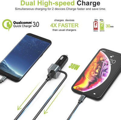 Exinoz Car Charger with Integrated Type C and Lightning Cable with USB A Port - Exinoz