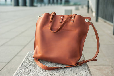 Genuine Leather Tote with External Pockets - Exinoz