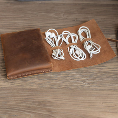 Handmade Personalized Leather Cable Cord Organizer Pouch