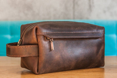 Customisable Handmade Genuine Leather Toiletry Bag