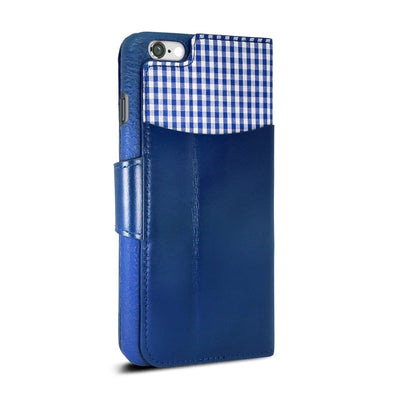 "Exinoz iPhone 6S Plus Case, 100% Genuine Leather Wallet Case [BLUE] - For Apple iPhone 6 Plus and iPhone 6S Plus 5.5"" Devices - Exinoz"
