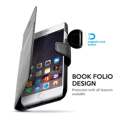 "Exinoz iPhone 6S Plus Case, 100% Genuine Leather Wallet Case [BLACK] - For Apple iPhone 6 Plus and iPhone 6S Plus 5.5"" Devices - Exinoz"