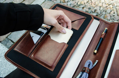 EXINOZ Hand Made Leather Laptop Portfolio