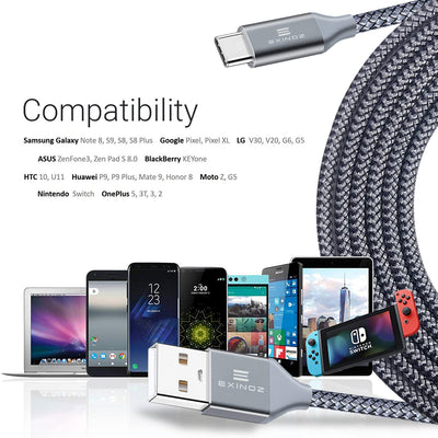 Exinoz USB Type C Cable Fast Charging USB C Cable - 10 Pack - Exinoz