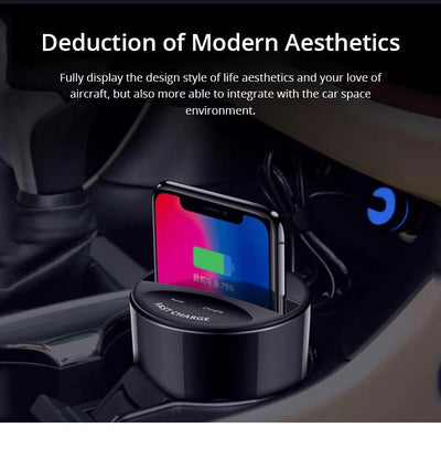 10W Car Wireless Charger Cup with USB Output Exinoz