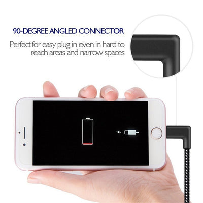 2A Right Angle Lightning Cable Charger 90 Degree Woven Lead for iPhone - Exinoz