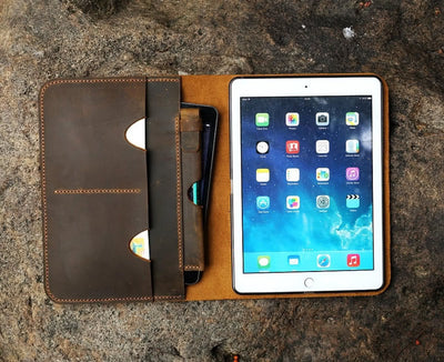 "Genuine Leather iPad Cover Case Organizer for iPad Pro 9.7"", 11"", & 12.9"""