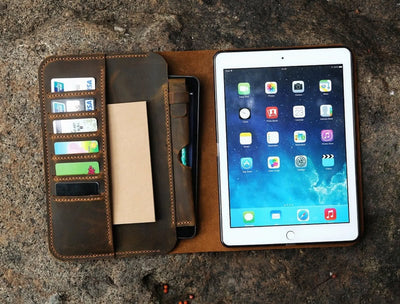 "Genuine Leather iPad Cover Case Organizer for iPad Pro 9.7"", 11"", & 12.9"" - Exinoz"
