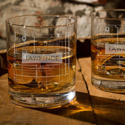 KANSAS KS ETCHED CITY MAP GLASSES (Set of Two)