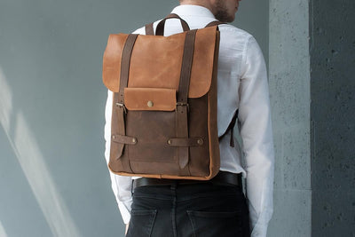 Genuine Leather Laptop Backpack - Exinoz
