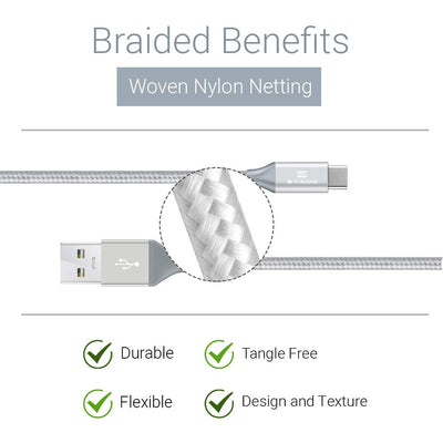 Exinoz USB Type C Cable Fast Charging USB C Silver Cable (Bonus Special Offer)