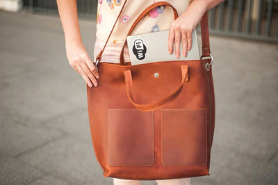Genuine Leather Tote with External Pockets