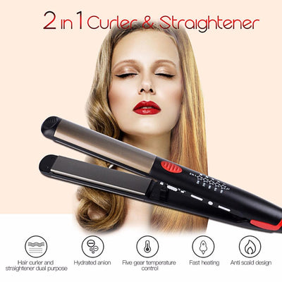 2 in 1 Curler and Hair Straigthener - Exinoz