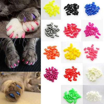 20Pcs Colorful Soft Silicone Cat Nail Cap