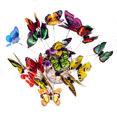 25Pcs Double Layer Butterfly On Sticks