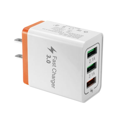 Fast Charger USB 3.0 3-Port Hub 5V 4.8A Phone Wall Adapter US Plug - Exinoz