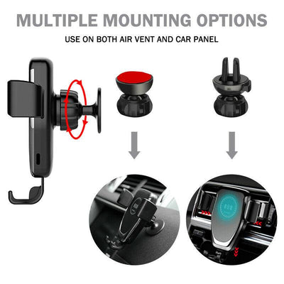 10W QI Wireless Fast Charger Car Mount Holder Stand For iPhone X XS Samsung Galaxy