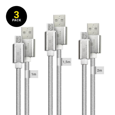 EXINOZ Micro USB Cable Charger [3-Pack Bundle] 2.4A High Speed Android Charger Cable-Premium Triple Braided Nylon Micro USB Charger for Samsung Galaxy S6/S7/S4/S3, Sony, LG, HTC, Nexus, Kindle, PS4 and More