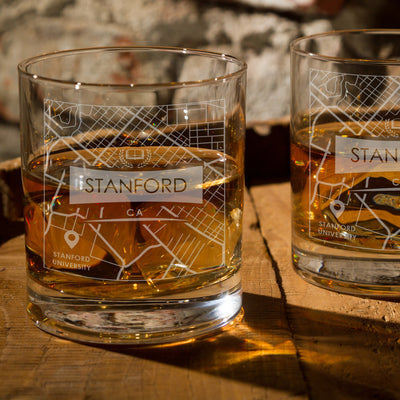 STANFORD CA ETCHED CITY MAP GLASSES (Set of Two)
