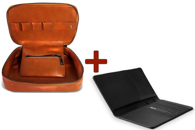 EXINOZ Tech Organiser Kit Bag And RFID Leather Passport Wallet (Limited Offer Bundle)