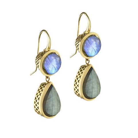 Ray Griffiths 18K yellow gold labradorite and moonstone earrings
